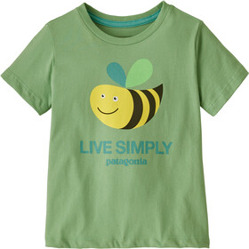 Patagonia Live Simply Organic T-Shirt Kids live simply bee cool man/thistle green